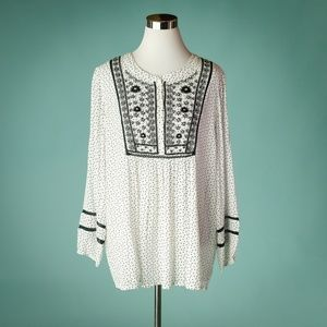 Coldwater Creek L White Black Embroidered Top NWOT